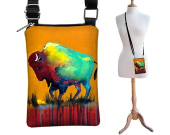 SALE Clara Nilles Small Shoulder Bag iPhone Purse Cross Body Cell Phone Case - Bison Buffalo orange red blue turquoise yellow MTO