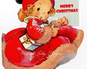 The Little Ballet Dancer Vintage Greetings Card Digital Download Printable Images (447)