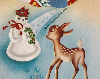 Vintage 1930's Art Deco Doe Deer Snowman Christmas Greetings Card (B14)
