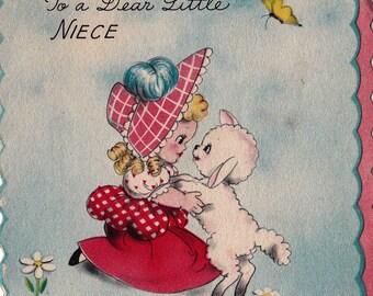 Vintage 1943 Hallmark Happy Birthday To A Dear Little Niece Lamb Greetings Card (B15)