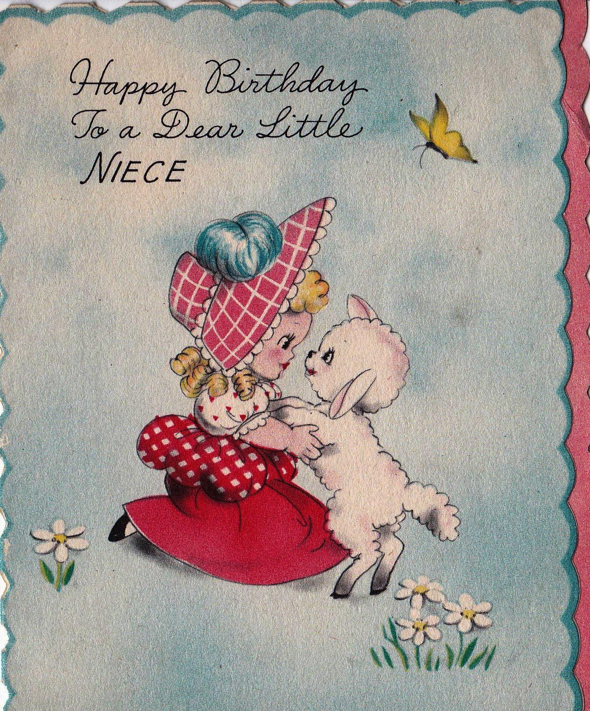 Vintage 1943 Hallmark Happy Birthday To A Dear Little Niece