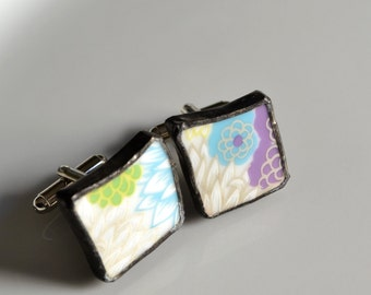 Broken China Cuff Links - Modern Floral
