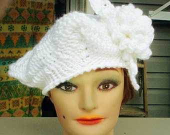 White Crochet Hat Womens Hat, Womens Crochet Hat, Crochet Beret Hat, Crochet Flower, White Hat, LYNETTE Womens Crochet Beret Hat with Flower