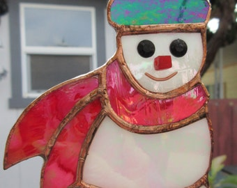 Snowman, 3 x 5 1/2 inches, of Iridescent Purple, Red & Opaque White Stained Glass, Ornament or Suncatcher