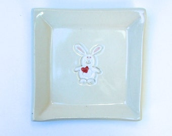 Ceramic Square Plate / Coaster, Bunny