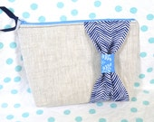 Linen Zipper Pouch with Blue Chevron Bow - Cosmetic, Bridesmaid Bag