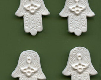 4 Polymer Detailed Faux Bone Hamsa Hand Cabs Undrilled FBH 4