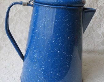Vintage Coffee Pot in Cobalt Blue with White Speckles Enamel Retro Rustic Farmhouse