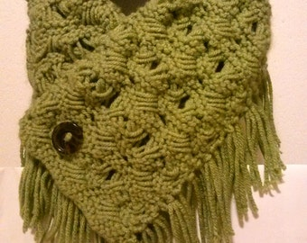 Faux Macrame Hand Knitted Neckwarmer Cowl Scarf