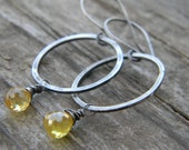 sunny yellow cubic zirconia on rustic hammered rings - dangle earrings - sterling silver