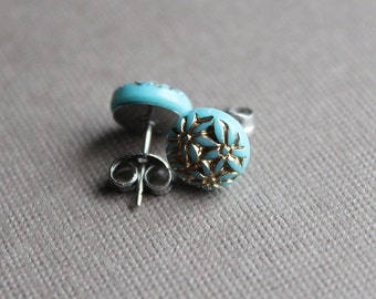 Aqua and Gold Glass Post Earrings - Surgical Steel Posts