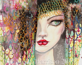 Secrets - Contemporary Fantasy Art - Woman - Watercolor Fine Art Giclee Print - 9 x 12 - Gypsy - Artwork