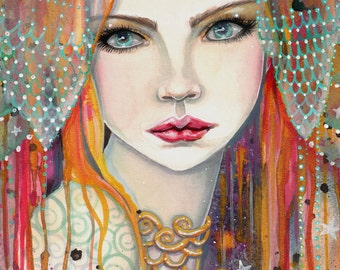 Gypsy - Beautiful Woman Fantasy Portrait - Fairy - Fine Art Giclee Print 9 x 12 - Molly Harison - Watercolor Print