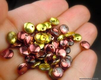 Lentil Beads - 6mm Metallic Yellow/Rose Copper -  Czech Glass Beads (G - 433)