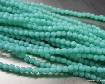Czech 2mm Beads -  Faceted Round Czech Glass Beads Opaque Turquoise  - 50 pcs (G - 92)