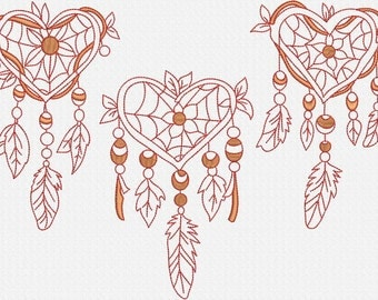INSTANT DOWNLOAD X-Large Dream Catchers Redwork Machine Embroidery Designs