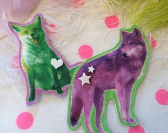 Neon Fox and Wolf Badge Set