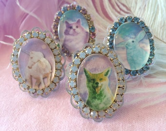 Pastel Spirit Animal Cameo Rings. Unicorn, Cat, Bunny, or Fox