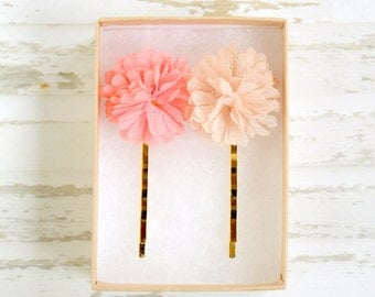 Pompom Tulle Bobby Pin Set of two