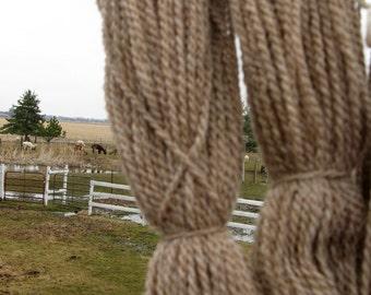 Taupe / Tan Yarn, CVM Wool Alpaca Yarn for Knitting, Crochet, Weaving, and Felting, Farm Fresh Worsted, 250 yards