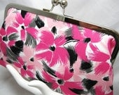 Coupon Organizer Purse Pink Black Brush Stroke Daisy