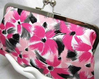 Coupon Organizer Purse Pink Black Brush Stroke Daisy