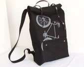 Black Canvas Roll top Backpack Bicycle, Rolltop Backpack