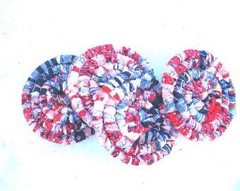 STARS and STRIPES  COASTER   Large Multicolored Textile Art