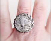 Buffalo Bison Nickel Ring, adjustable
