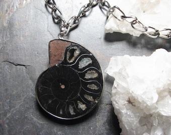 Dark Seas, Ammonite Fossil Necklace