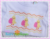 Chick Holding Egg Faux Smock Design 4x4, 7x3, 7x5