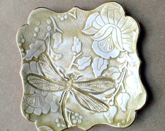 Ceramic Mustard yellow Damask trinket bowl