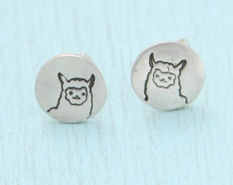 LLAMA stud earrings, Illustration by BOYGIRLPARTY, eco-friendly silver.  Handcrafted by Chocolate and Steel.
