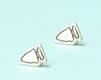 ARROWHEAD STUD earrings -  sterling silver posts handmade and illustrated by Chocolate and Steel