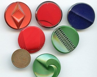 "ART DECO Glass Buttons Set of (6)  LARGE Coordinating Vintage Red, Blue, Green 1 1/16"" inch size 9662"