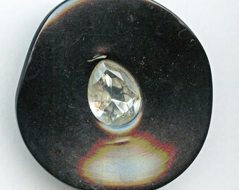 """HUGE BLACK Celluloid Button with Rhinestones Vintage 2"""" inch size 1141"""