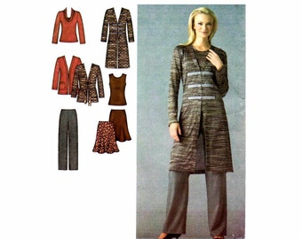 Womens Pants Skirt Knit Cardigan Tops Simplicity 3634 Sewing Pattern Full Figure Size 20 - 22 - 24 - 26 - 28 UNCUT