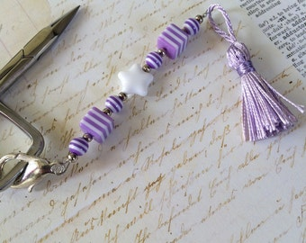 scissors fob lavender purple and White stripes beaded decoration for embroidery scissors personalize your scissors