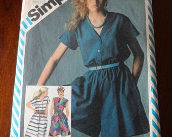 Vintage 80s Simplicity 6368 Misses Dress and Coulotte Dresses in Two Lengths Sewing Pattern size 8 B 31.5