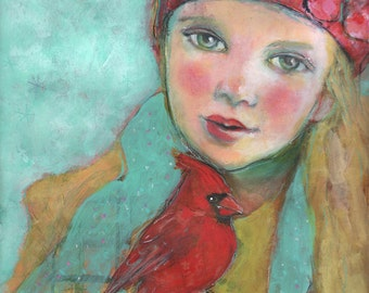 "Cardinal's Song 5""x7"" Fine Art Reproduction  by Maria Pace-Wynters"
