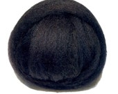 Black Needle Felting Spinning Fiber, wool, roving, commercially dyed, with free samples, black corriedale wool roving