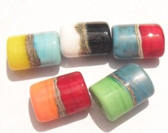 Lampwork Half and Half Beads Handmade Artisan Lampwork Beads, SRA Glassymom