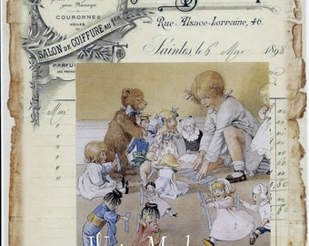 Bears*Dolls*Josephine's Dolls on French Ledger Instant DIGITAL DOWNLOAD*Cards, decoupage, collage,sewing and so much more