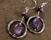 Charoite earrings, genuine rare oval charoite stones and large silver decorative ring handmade earrings