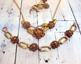 Krementz Gold Fill Rose Necklace Bracelet Pin Jewelry Set 1950s Brooch Wedding