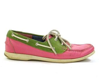 Pink Leather Loafers with Green Leather Contrast / Moccasin Style Topsiders / Vintage 1990s / Women's Size 7