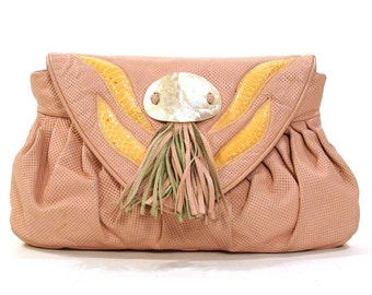 Pink Leather Clutch Bag with Skinny Shoulder Strap / Perforated Leather with Tassel & Abalone Buckle / Vintage 1980s