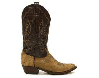 Tony Lama Brown Leather Cowboy Boots / Women's size 9.5 / Men's size 8