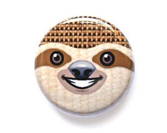 Smiley Sloth Face One Inch Pinback Button, Magnet, or Keychain
