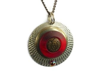 Steampunk Style Necklace --Red Button SNK100